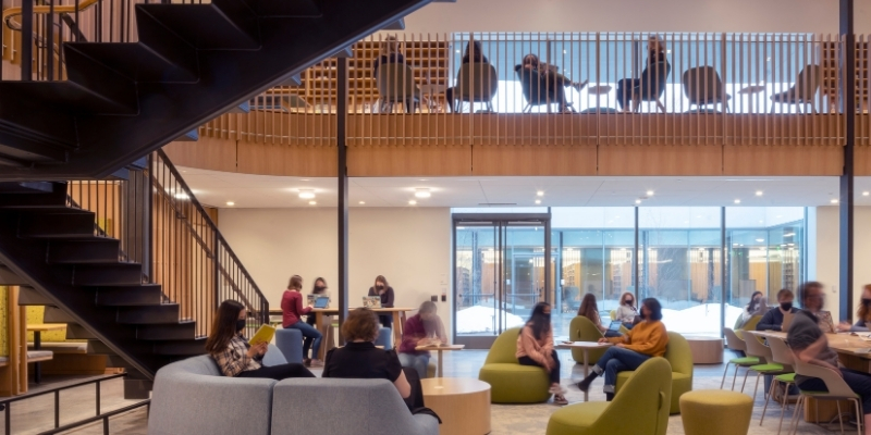 groups of students studying in the Neilson Library Digital Media Hub