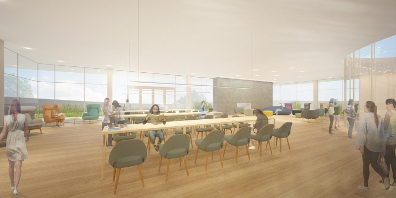 artist rendering of students sitting at tables in the Neilson Library Skyline Reading Room