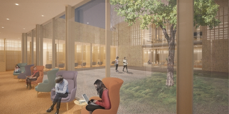 artist rendering of students studying outside a courtyard with trees and plants