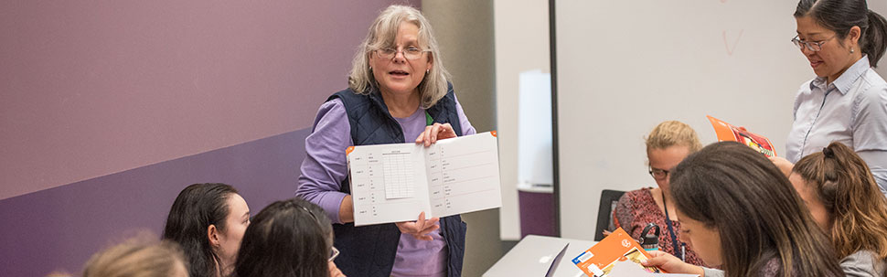 Librarian teaching an instruction class in Young Library