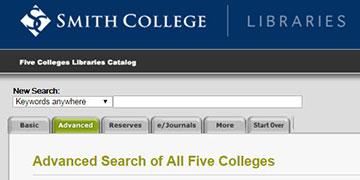 Screenshot Five College Library Catalog