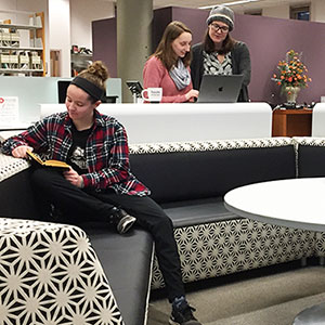 Students and librarian working in consultation space