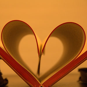 Open book shaped like a heart