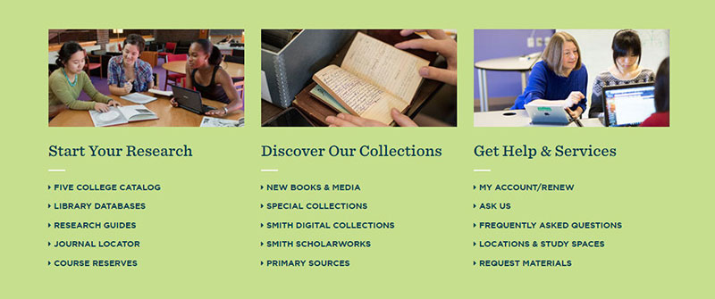 Quick start links on the new Libraries' website