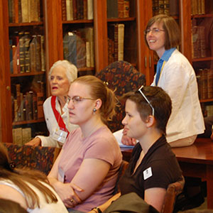 People at an open house in Special Collections