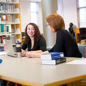 Students working in Young Library