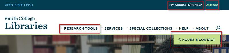 Top navigation bar of Libraries' new website