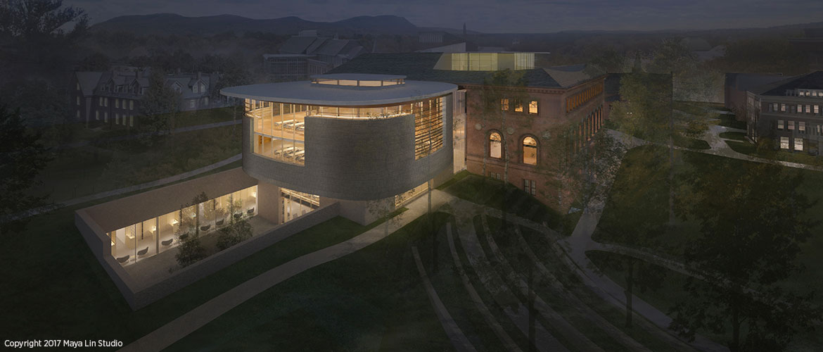 Maya Lin's design for the New Neilson Library, northwest elevation at night