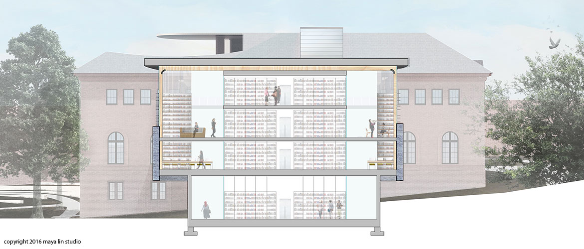 Maya Lin design for New Neilson Library south section