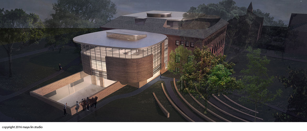 Maya Lin design for New Neilson Library north sunken courtyard at night
