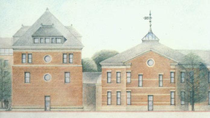 Drawing of Ball Hall 1990s