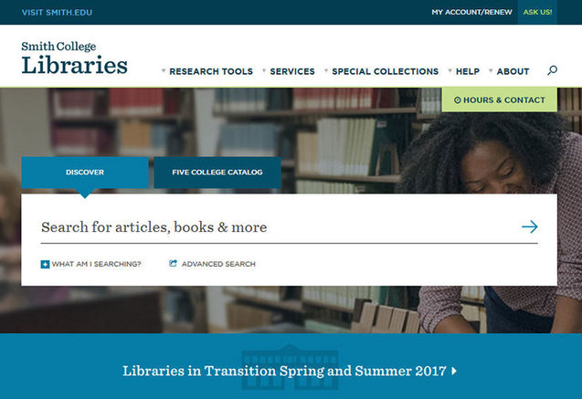 Screenshot of Libraries' new home page