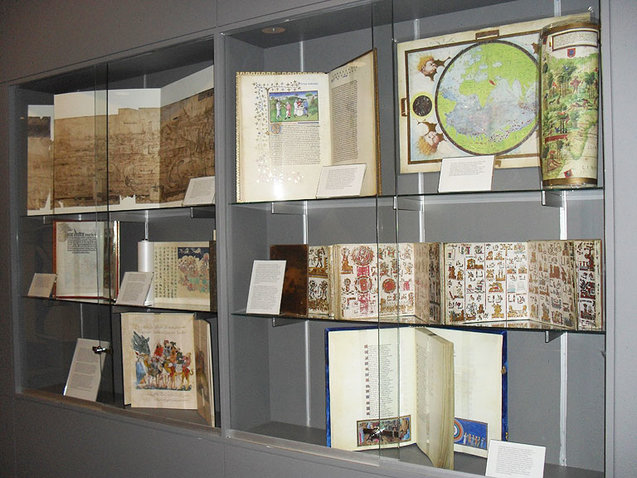 Illuminating the World exhibits in Hillyer Art Library