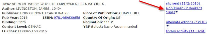 screenshot of online book order interface