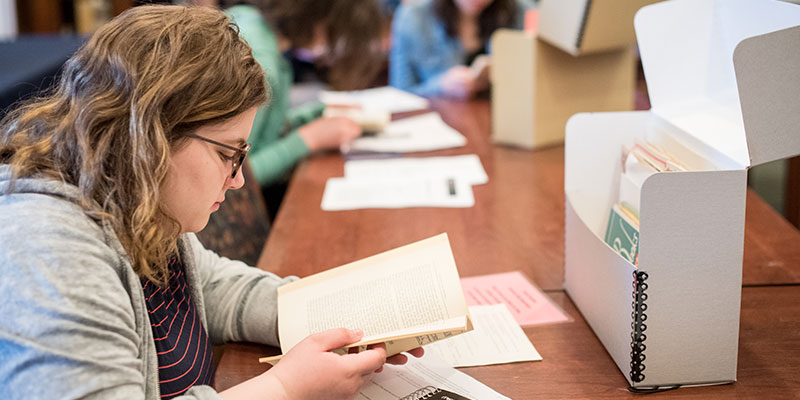 Student working in Special Collections